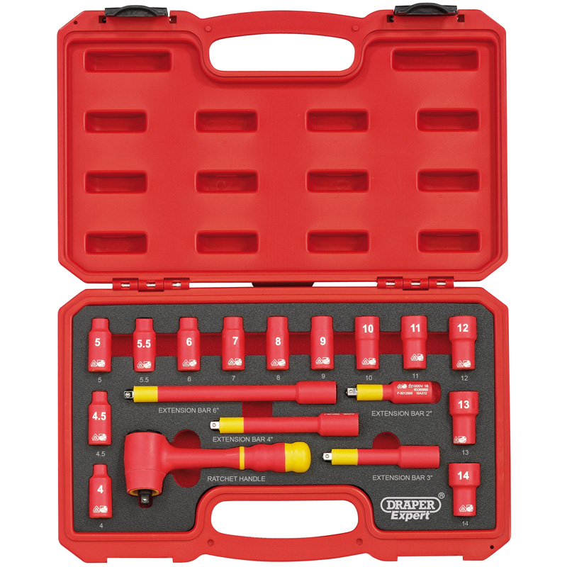 "Draper 1/4"" SQUARE. DRIVE. VDE SOCKET SET (18 PIECE)"