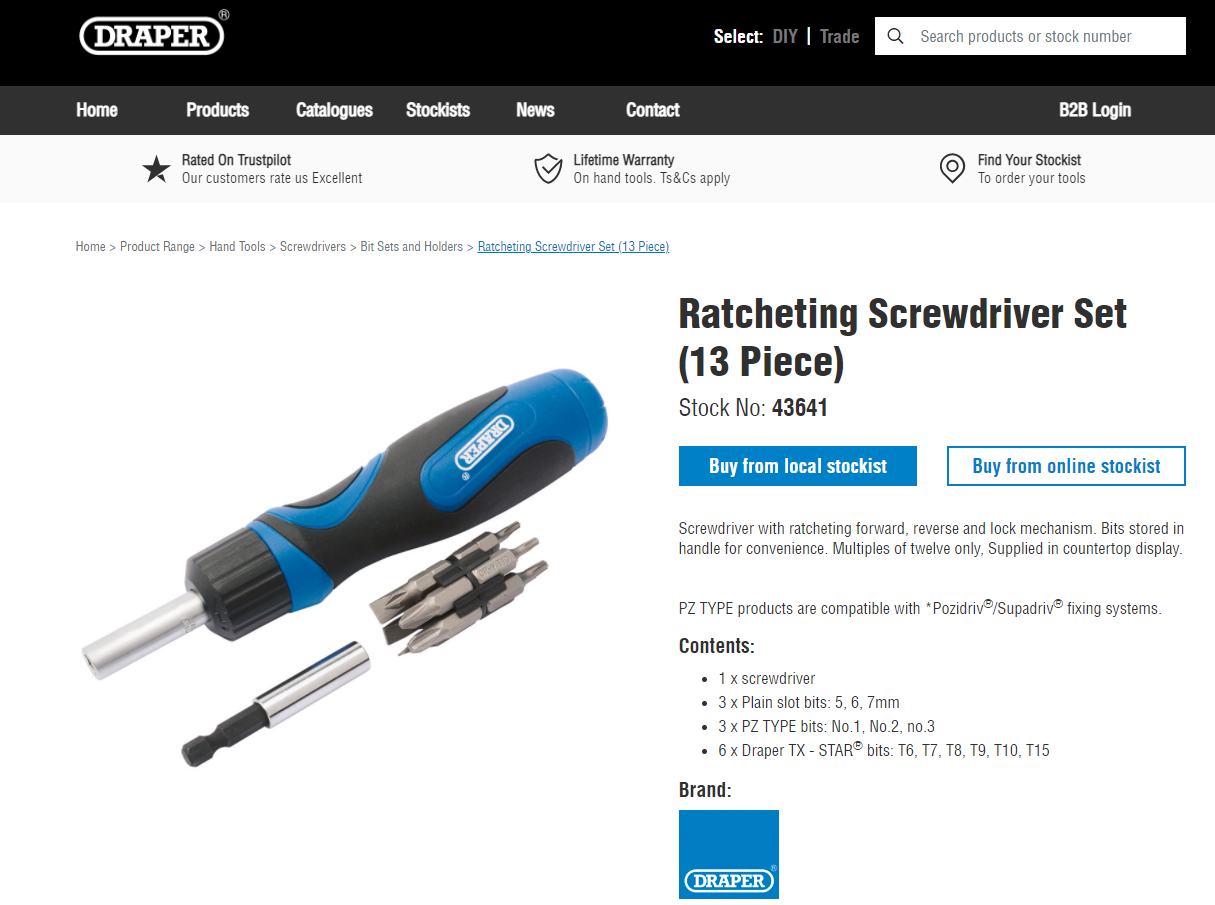 Draper Ratcheting Screwdriver Set (13 Piece)