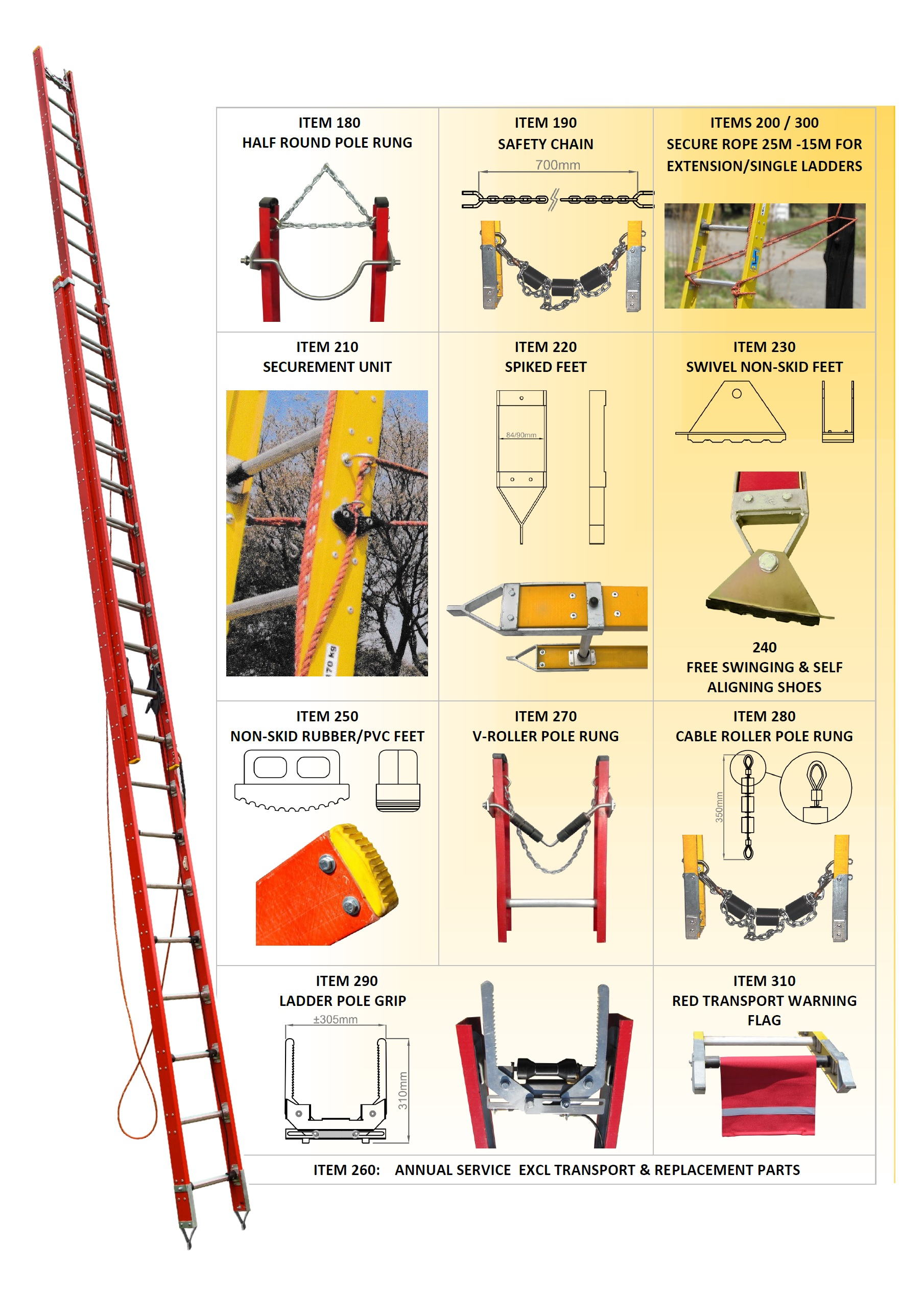 Christensen Fibreglass extension ladder ESKOM CONTRACT 4600055