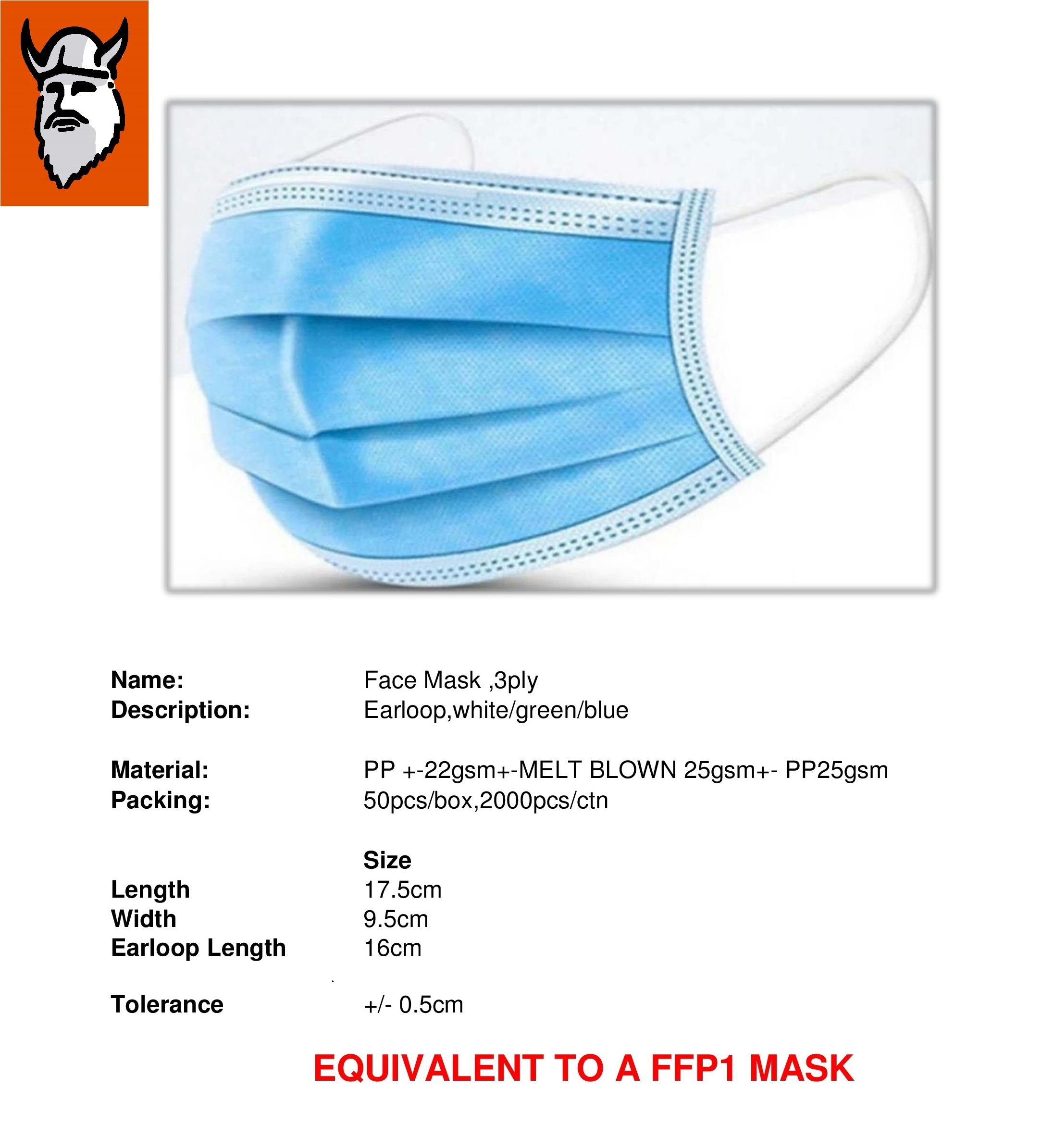 Christensen  Surgical Masks (Face Masks) 3 PLY